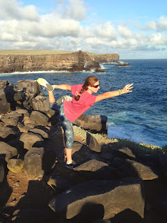 Image of myself practicing the yoga pose known as dancer in the Galapagos Islands