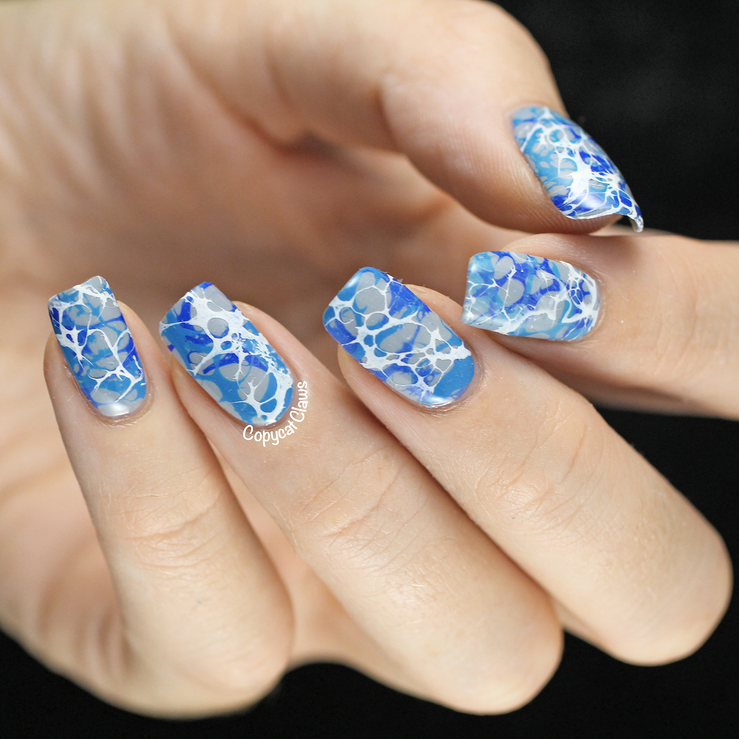Copycat Claws Blue Color Block Nail Art: Copycat Claws: Triple Water Spotted Nails