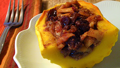 Closeup of piece of stuffed delicata squash