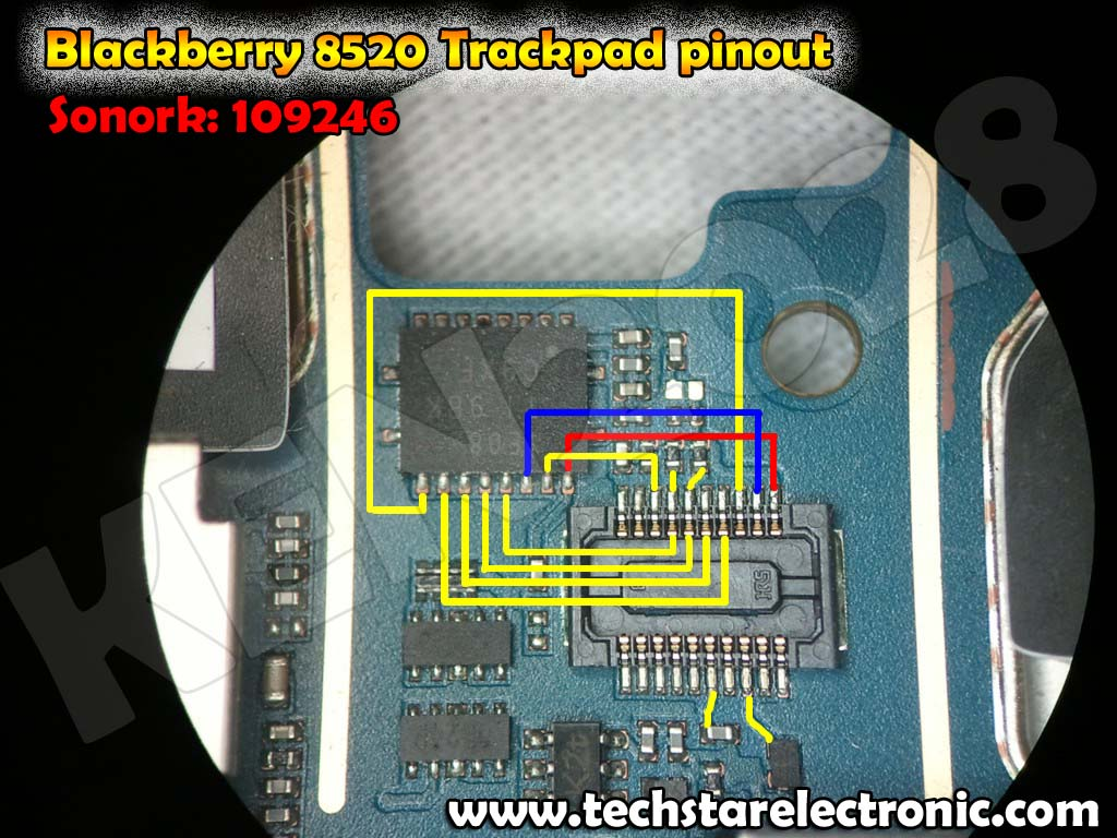 The picture contains Blackberry 8520 trackpad Pinout solution.