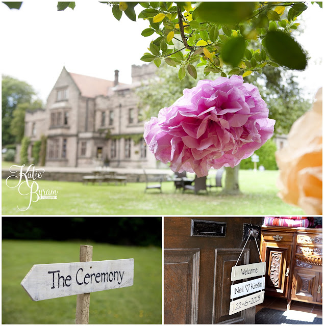 ellingham hall, ellingham hall wedding, northumberland wedding photographer, newcastle wedding photographer, ceremony signs, paper pom poms, quirky wedding photography, katie byram photography,
