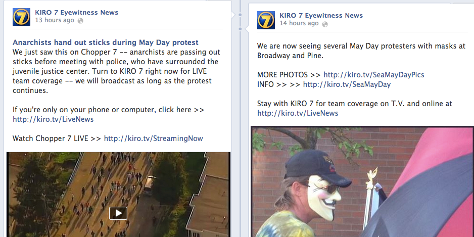 Seattle May Day Protests And KIRO 7 Social Media