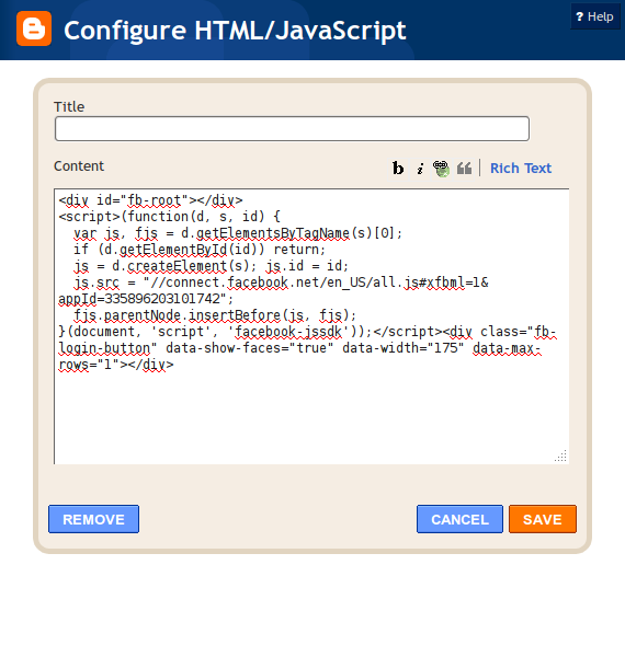 ... and hacks: Add a facebook login button to your blogger using html code