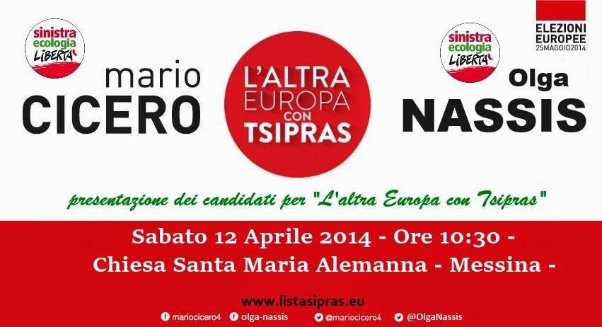 ELEZIONI EUROPEE 2014: INCONTRO CON MARIO CICERO E OLGA NASSIS DI SEL MESSINA