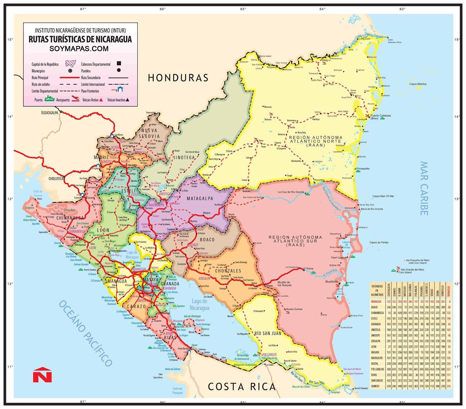 NICARAGUA  MAPAS DE