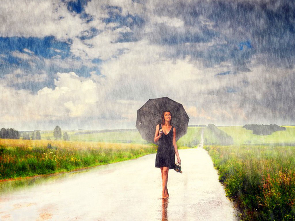 Girl In Rain Desktop Wallpaper