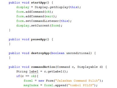 Cara membuat Command (J2ME)