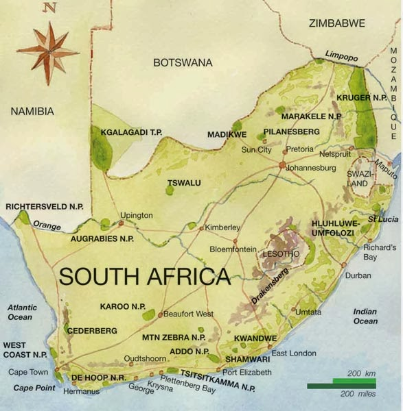 south africa map geography