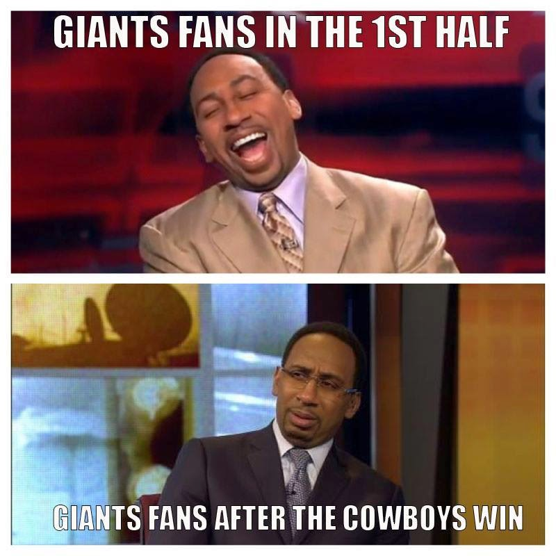 Giants fans in the 1st half. Giants fans after the cowboys win