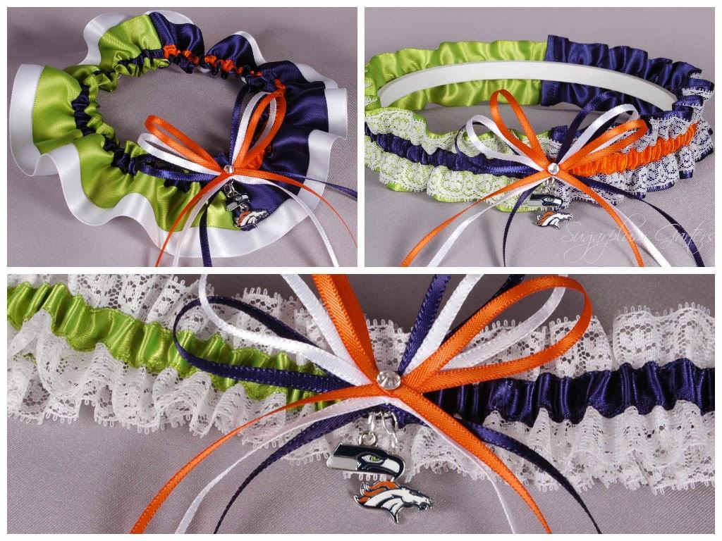 Superbowl XLVIII Seattle Seahawks vs Denver Broncos Rival Garter by Sugarplum Garters