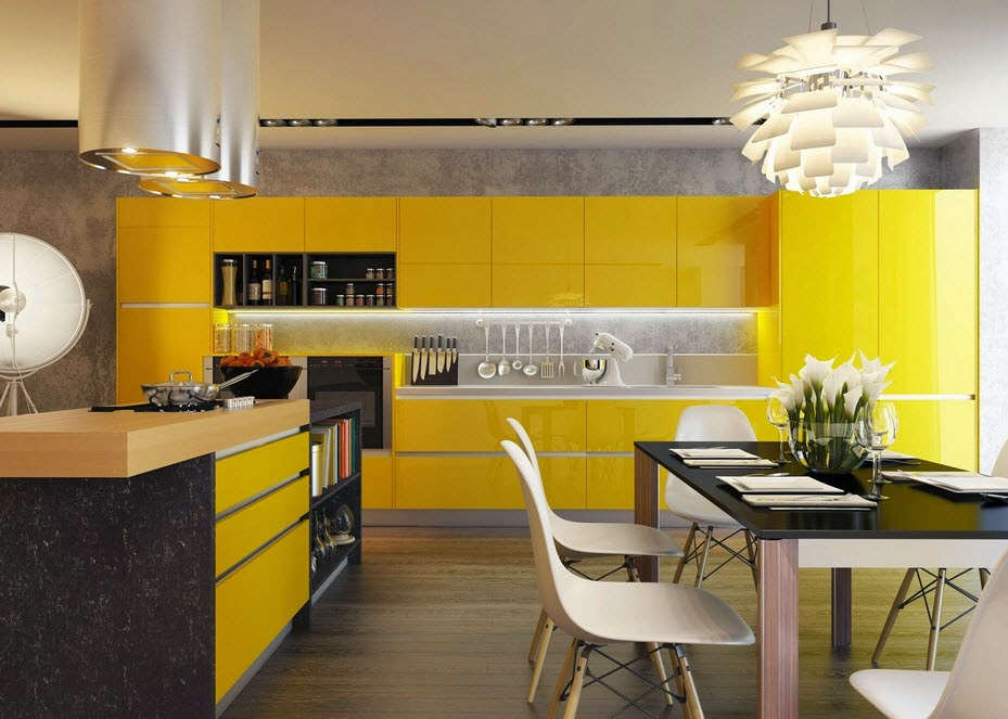 Modern kitchen of yellow with black