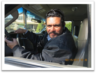 Rudy Reyes, Supervisor, Unity Disposal, LLC, in his truck.