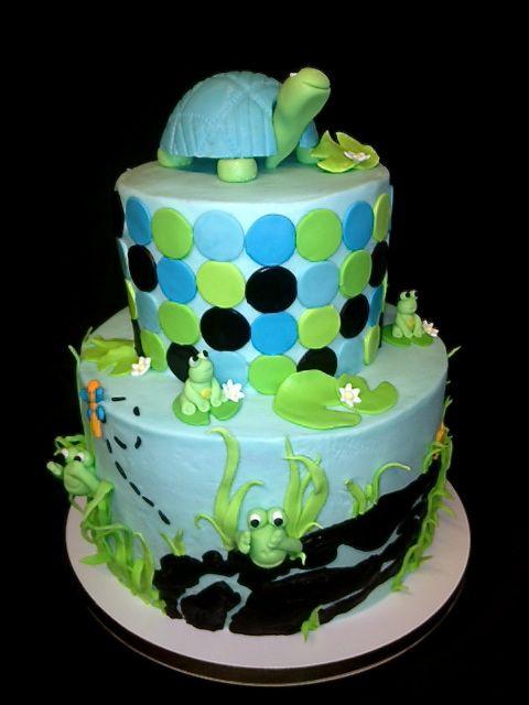 Sweet Ts Cake Design Peek A Boo Frogs And Turtle Baby Shower Cake