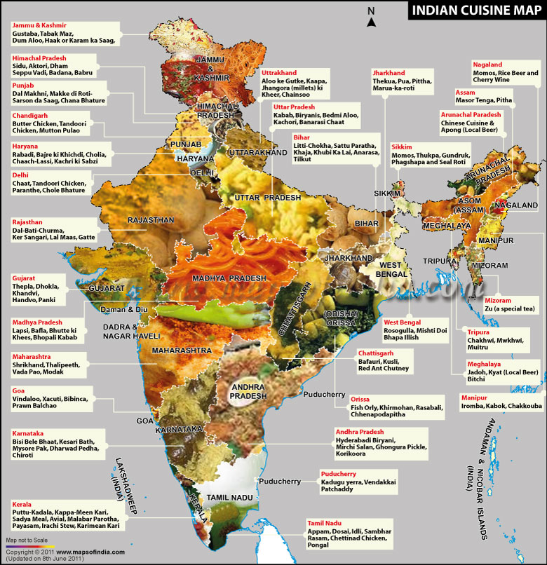 Delhi food food map of india Cuisines of india