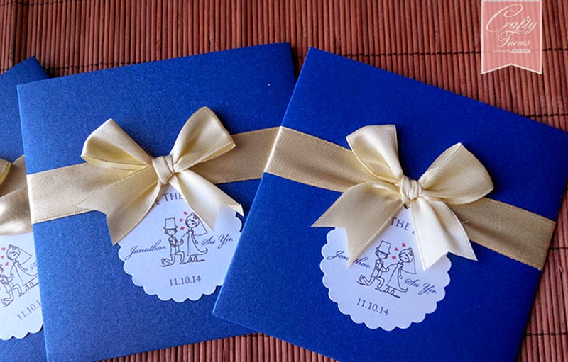 Blue and Yellow Themed Wedding Card Singapore Pocket Style