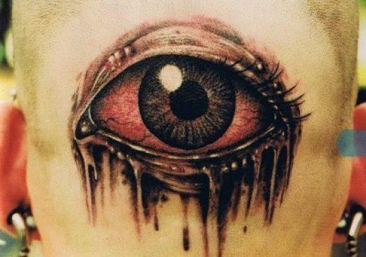 tattoo olho na nuca em 3d