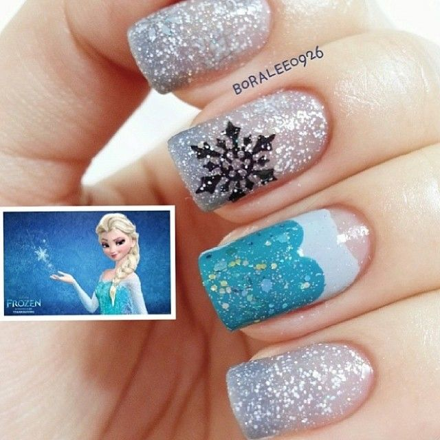 Disney inspired frozen nail art tutorial disney frozen inspired disney frozen nail art manicure every day view images prinsesfo Images