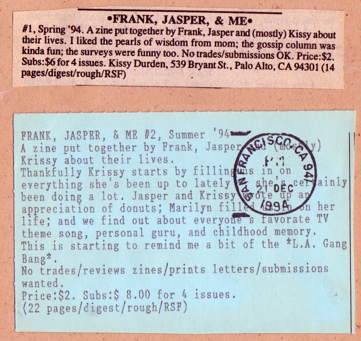 Factsheet Five reviews for Frank, Jasper and Me zine.