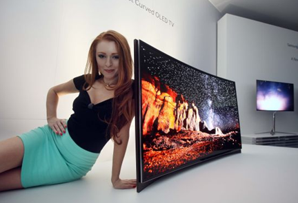 female model with worlds first curved screen samsung tv television