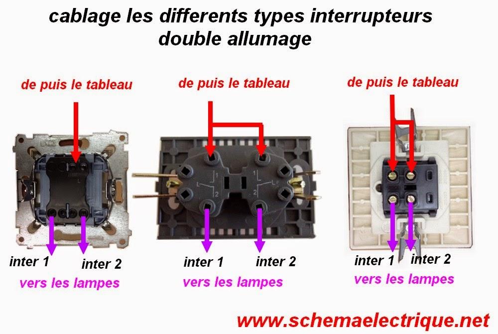 branchemet cablage raccordement installation  interrupteur double allumage