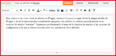 Crear un articulo en Blogger nueva intefaz