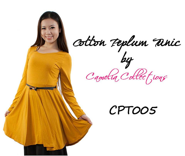 cotton peplum tunic mustard