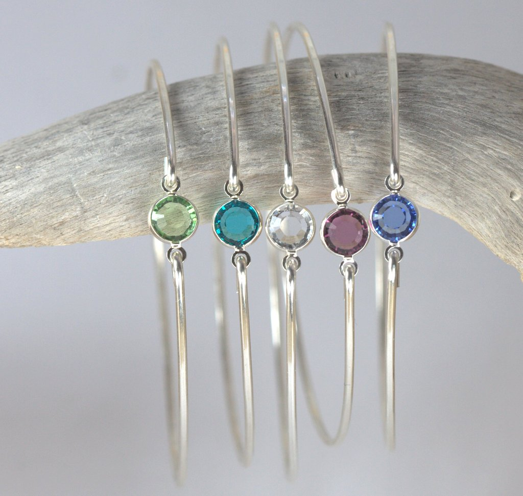 Sterling Silver Birthstone Bangle