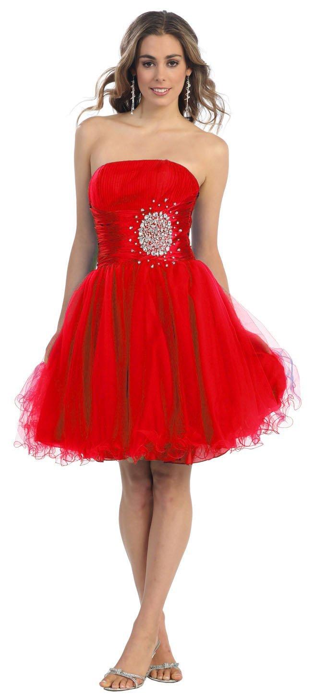 Red short prom dress graduation junior plus size strapless 2013