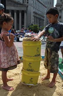 sandbox for kids in summer streets in New York City