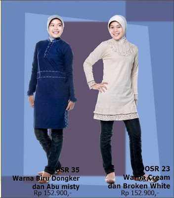 Model Baju Kaos Muslim Osmoes Biru Dongker Abu Misty dan Cream Broken White