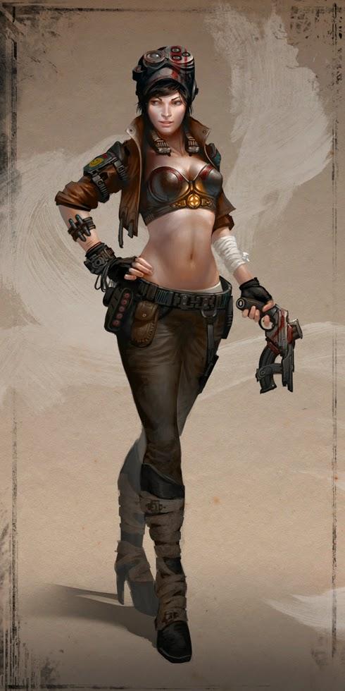 illustration de David Sladek representant une jeune femme steampunk