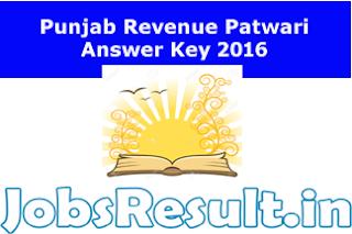 Punjab Revenue Patwari Answer Key 2016