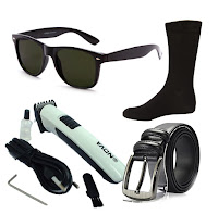 Buy Mens Combo Of Black Wayfarer, Hair Trimmer, Socks and leather belt Combo offer at Rs. 349 : Buytoearn