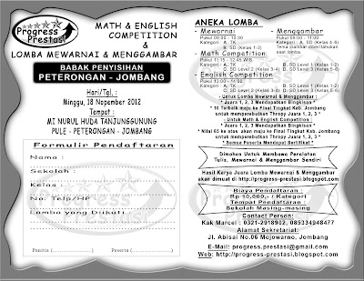 Progress Prestasi : Brosur Math & English Competition & Lomba Mewarnai dan Menggambar Babak Penyisihan Kec. Peterongan - Jombang