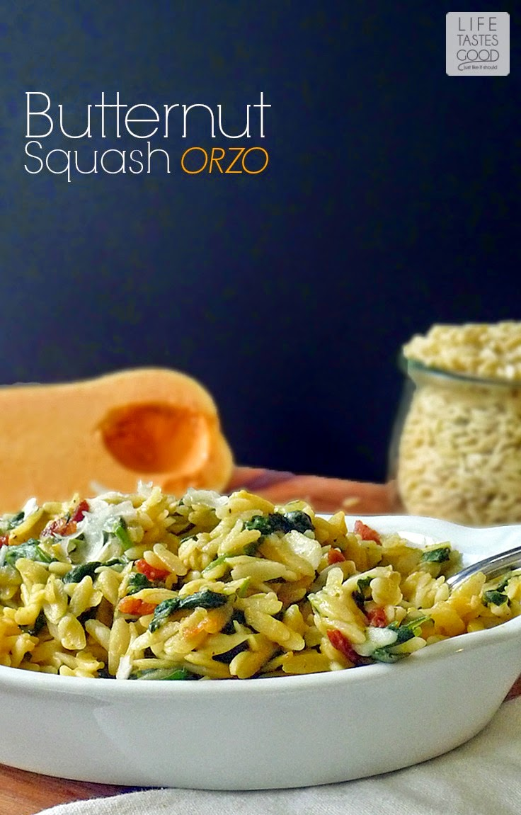 Butternut Squash Orzo Pasta | by Life Tastes Good is an easy-to-make, delicious side dish full of all the healthy goodness that is butternut squash. It's also super versatile! #Fall #SundaySupper