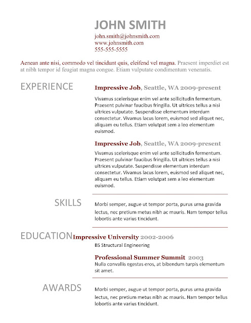 7 simple resume templates free download