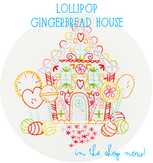 Lollipop Gingerbread House embroidery pattern