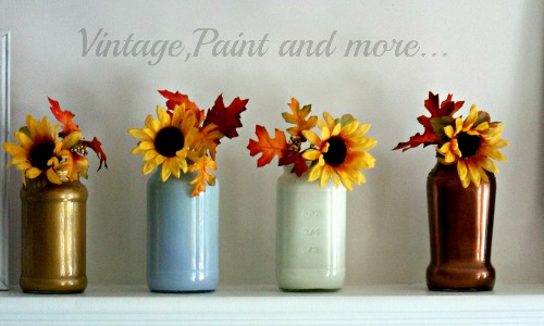 Vintage, Paint and more.. mason jars painted in metallics, metallic colors of fall, sunflowers in jars