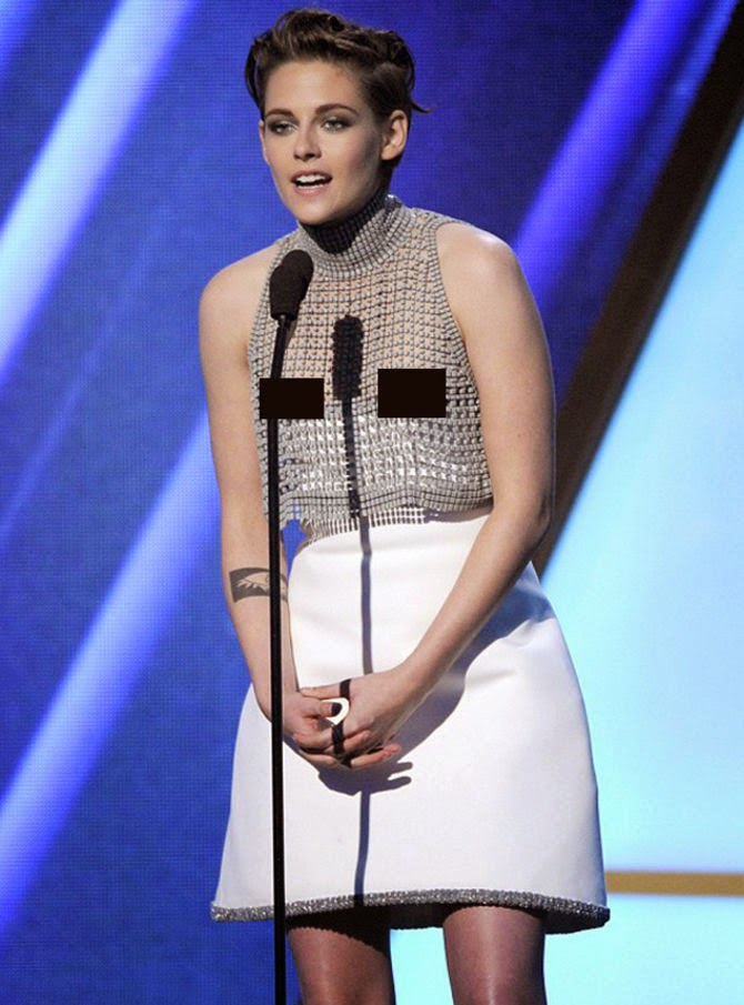 Oops! Kristen Stewart dress slipped on stage