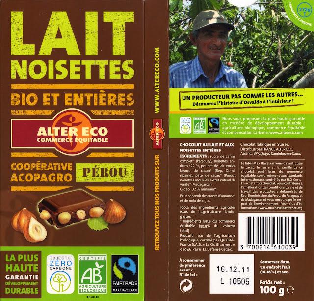 tablette de chocolat lait gourmand alter eco pérou lait noisettes bio et entières