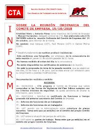 SOBRE LA REUNIÓN ORDINARIA DEL COMITÉ DE EMPRESA, 15/10/2018