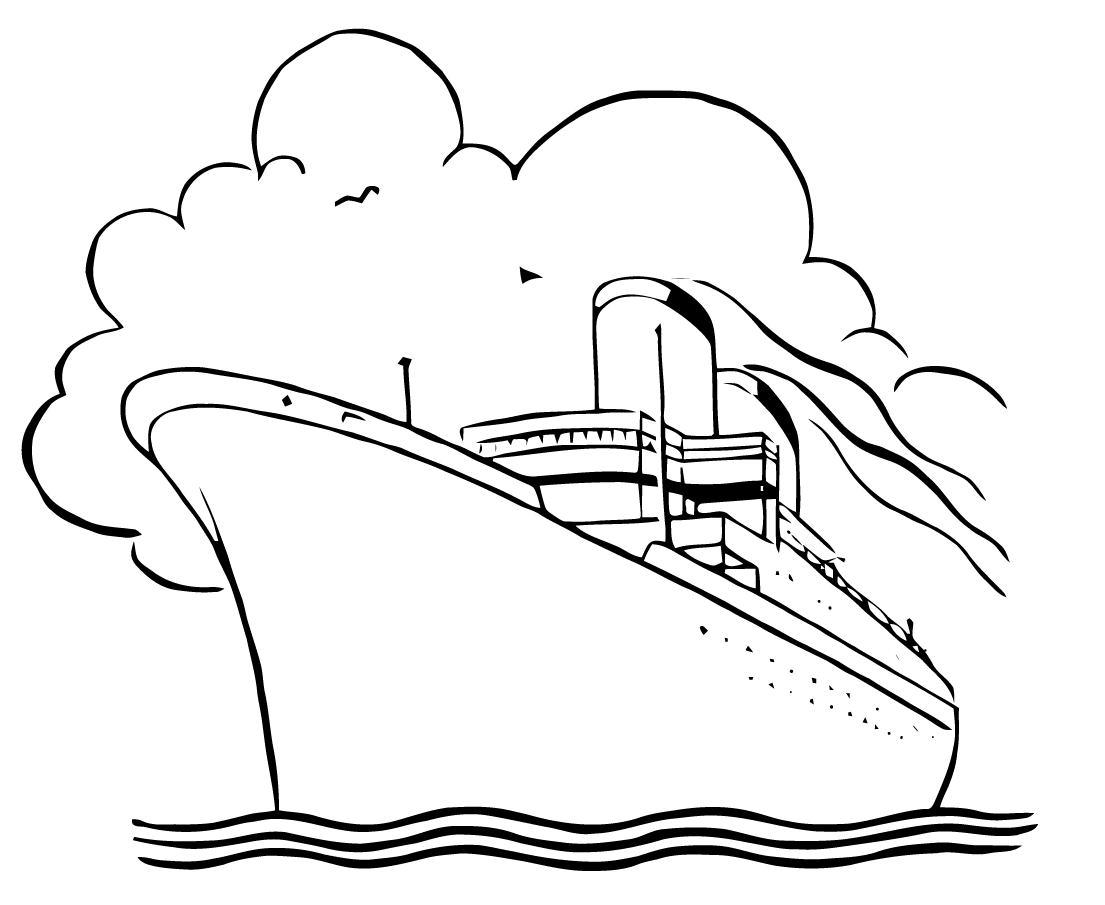 cruise ship clip art black and white