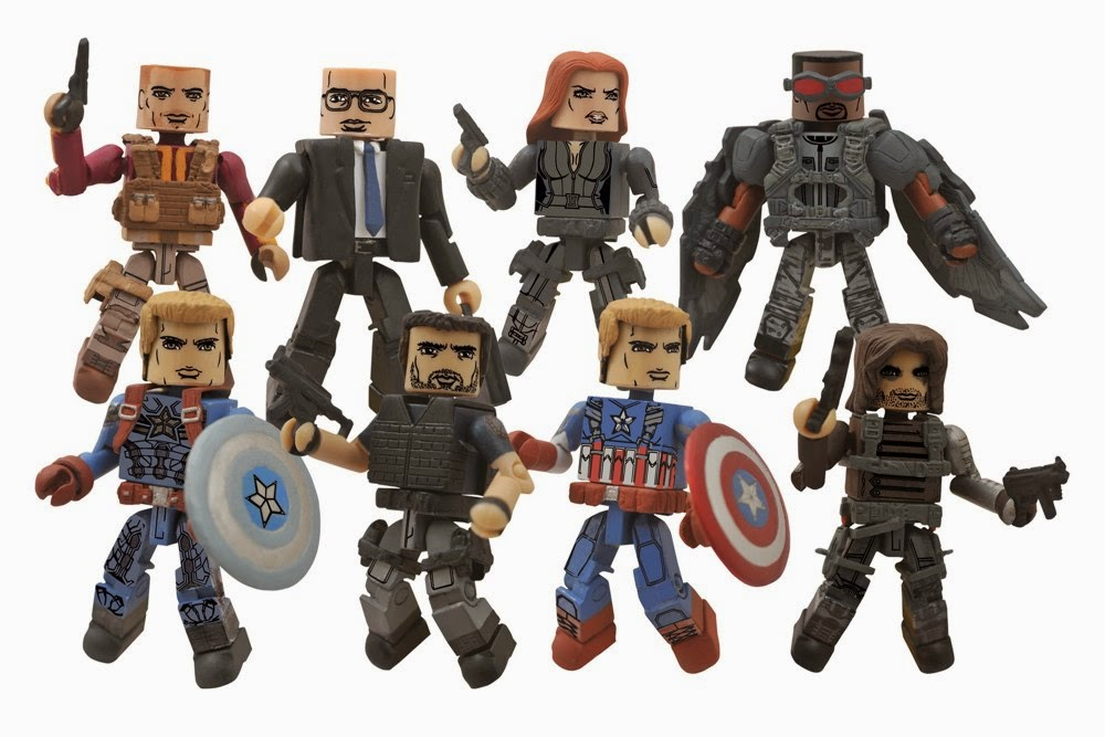 "Captain America The Winter Soldier Marvel Movie Minimates - ""Stealth Uniform"" Captain America, Crossbones, ""Final Battle"" Captain America, Winter Soldier, Batroc the Leaper, Agent Sitwell, Black Widow & The Falcon"