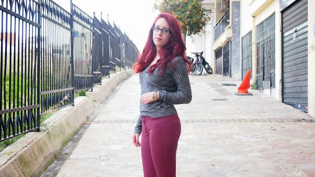 Anna Keni,redhead, spotlights on the redhead, , migato, dyrberg/kern, dyrberg kern, fashion, model, wrangler, lee, sweater, grey, burgundy, winter, comfortable, outfit, fashion blogger