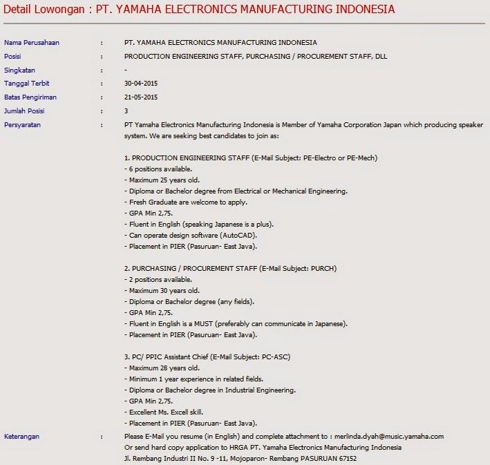 Lowongan kerja resmi HRGA PT. Yamaha Electronics Manufacturing