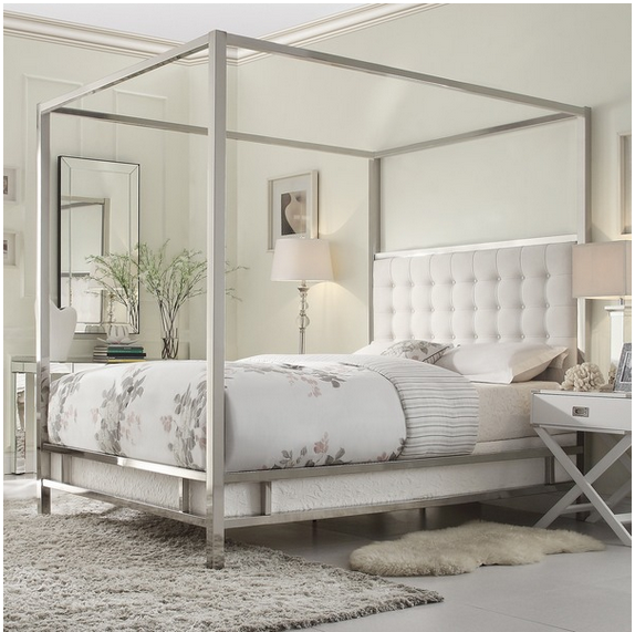Simple INSPIRE Q Solivita Canopy Button Tufted Metal Poster Bed