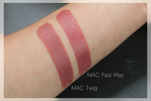 MAC Amplified Lipstick Fast Play Satin Lipstick Twig Swatches