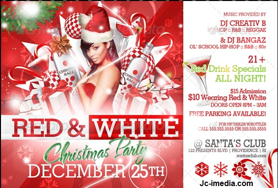 Down Model 3d Free Red And White Christmas Party Flyer Templates
