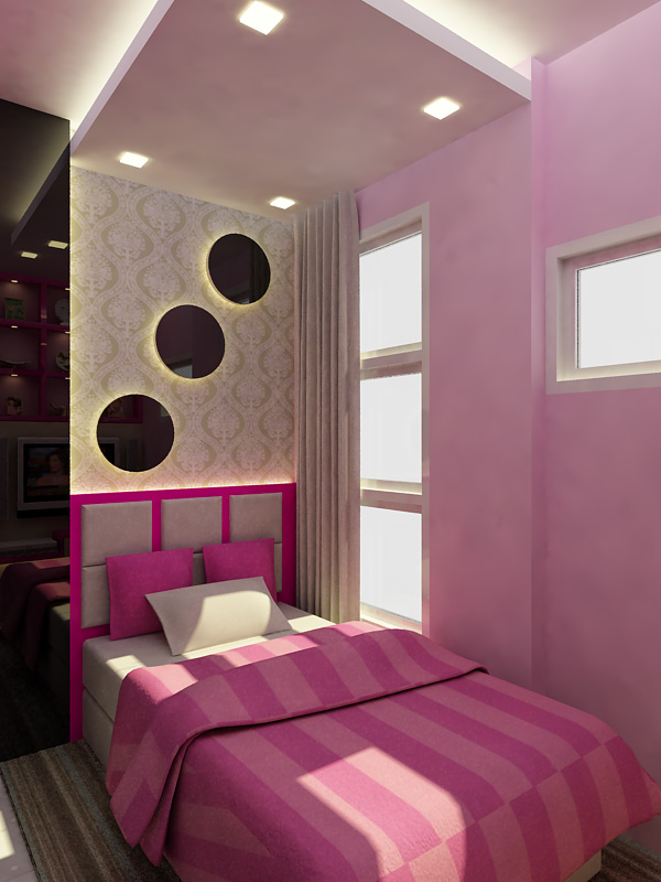 Small bedroom with a minimalist color combination of pink for Minimalist bedroom colors