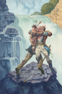 A zombie attacks a solider over a water fall.